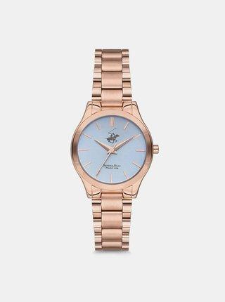 Dámské hodinky s nerezovým páskem v růžovozlaté barvě  Beverly Hills Polo Club