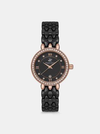 Dámské hodinky s nerezovým páskem v černé barvě  Beverly Hills Polo Club