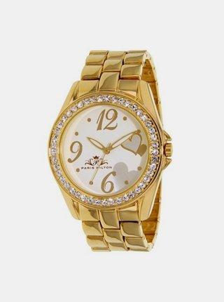 Dámské hodinky s nerezovým pásken ve zlaté barvě  Paris Hilton