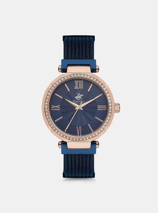 Dámské hodinky s nerezovým páskem v tmavě modré barvy  Beverly Hills Polo Club