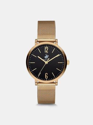 Dámské hodinky s nerezovým páskem ve zlaté barvě  Beverly Hills Polo Club