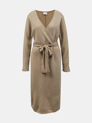Béžové svetrové šaty se zavazováním VILA