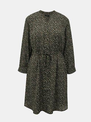 Tmavě zelené květované šaty Selected Femme