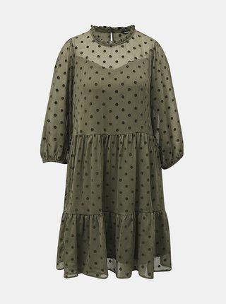 Khaki puntíkované volné šaty ONLY