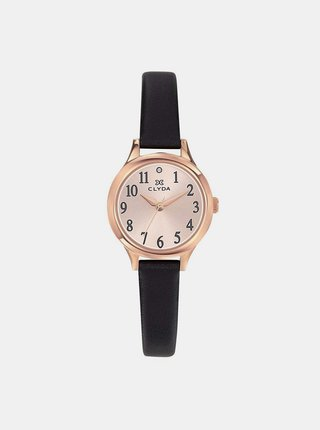 Dámské hodinky s černým koženým páskem Clyda