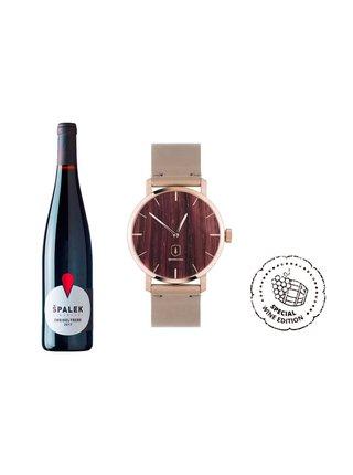 Dřevěné hodinky Red Wine Watch s řemínkem z pravé kůže BeWooden