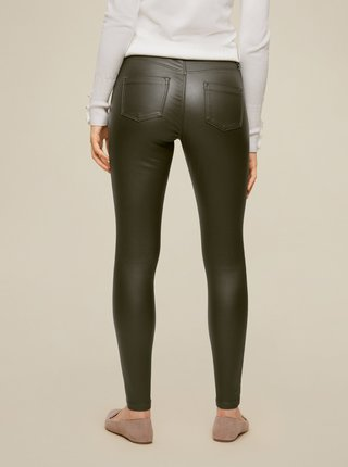 Kaki koženkové skinny fit nohavice Dorothy Perkins