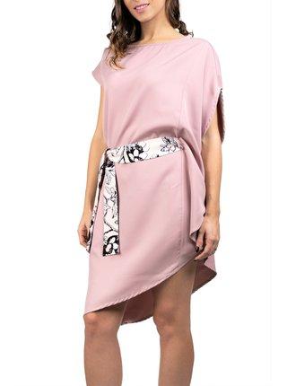 Simpo pudrové asymetrické šaty Storm s páskem
