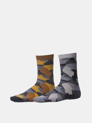 Sada dvoch párov pánskych vzorovaných ponožiek v šedej farbe SAM 73