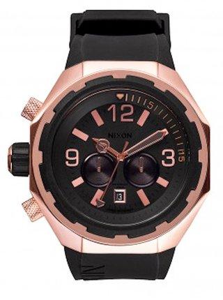 Nixon STEELCAT ROSEGOLDBLACK analogové sportovní hodinky - černá
