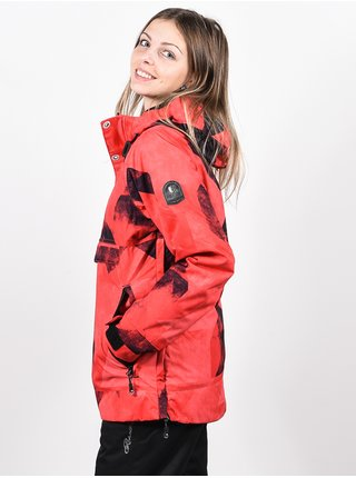 Rehall FRIDA Graphic Mountains Red Pink zimní dámská bunda - červená