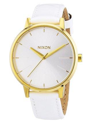 Nixon KENSINGTON LEATHER ALLWHITEGOLDPATENT analogové sportovní hodinky - bílá