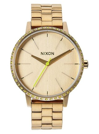 Nixon KENSINGTON ALLGOLDNEONYELLOW analogové hodinky - zlatá barva