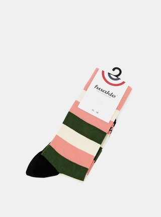 Růžové pruhované ponožky Fusakle Multikulturalista štvrtý