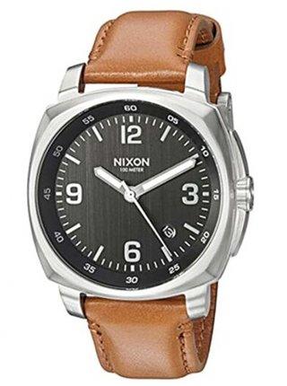 Nixon CHARGER LEATHER BLACKSADDLE analogové sportovní hodinky
