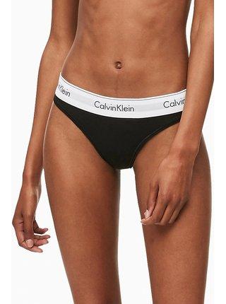 Calvin Klein černá tanga s bílou širokou gumou Thong Strings Basic