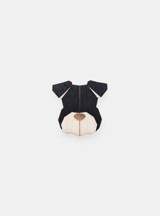 Dřevěná brož ve tvaru psa Schnauzer Brooch BeWooden