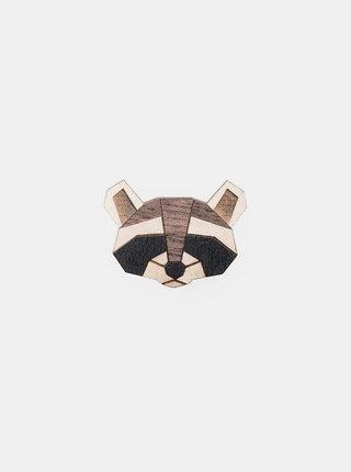 Dřevěná brož Raccoon Brooch BeWooden