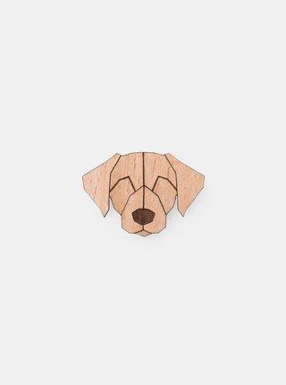 Dřevěná brož ve tvaru psa Labrador Brooch BeWooden