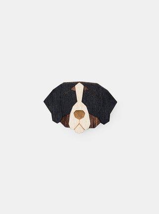 Dřevěná brož ve tvaru psa Bernese Mountain Dog Brooch BeWooden