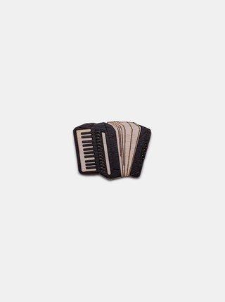 Dřevěná brož ve tvaru akordeonu Accordion Brooch BeWooden