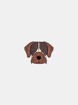 Dřevěná brož ve tvaru psa Bohemian Griffon Brooch BeWooden