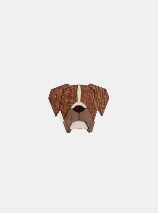 Dřevěná brož ve tvaru psa Boxer Brooch BeWooden