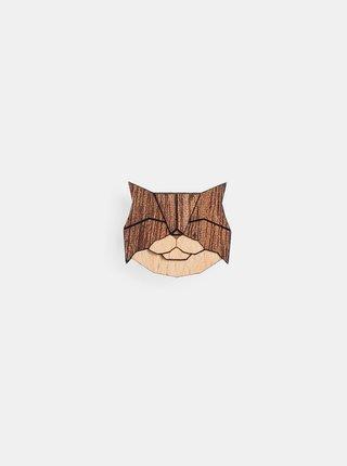 Dřevěná brož Persian Cat Brooch BeWooden