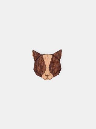 Dřevěná brož Red Cat Brooch BeWooden