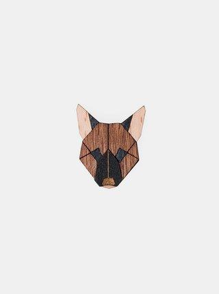 Dřevěná brož ve tvaru psa German Shepherd Brooch BeWooden