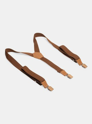 Kožené šle Cognac Suspenders BeWooden s dřevěnými detaily BeWooden