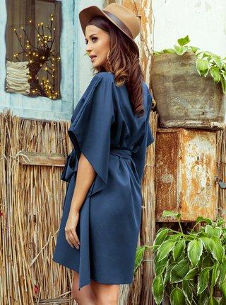 Modré voľné šaty so zaväzovaním numoco