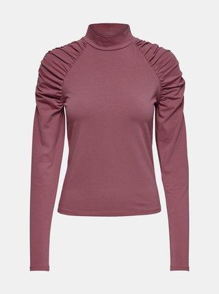 Ružové tričko s nariasenými rukávmi ONLY