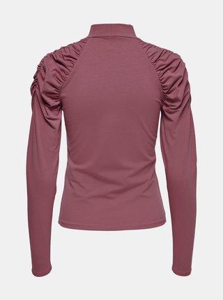 Růžové tričko s nařasenými rukávy ONLY