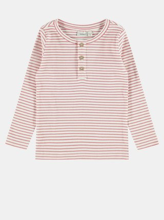 Ružové dievčenské pruhované tričko name it