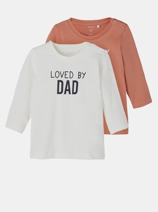 Sada dvou dětských triček v hnědé a bílé barvě name it