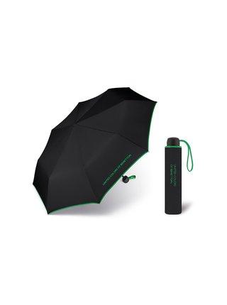 United Colors of Benetton Super Mini Black - černý deštník se zeleným lemem - Černá