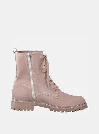 Růžové kožené kotníkové boty Tamaris