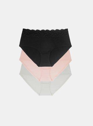 Sada tří kalhotek v bílé a černé barvě DORINA