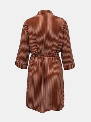 Hnedé pruhované košeľové šaty ONLY Tamari