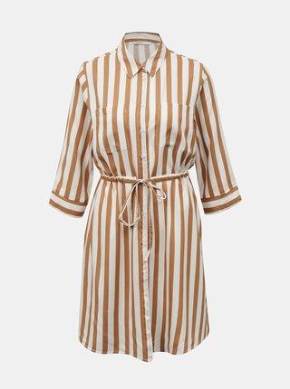 Béžové pruhované košeľové šaty ONLY Tamari