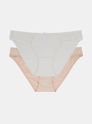 Sada dvoch nohavičiek v telovej a bielej farbe DORINA