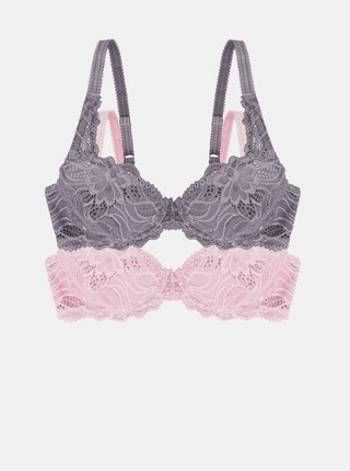 Sada dvou krajkových podprsenek v růžové a fialové barvě DORINA