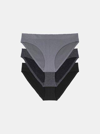Sada troch nohavičiek v čiernej a šedej farbe DORINA