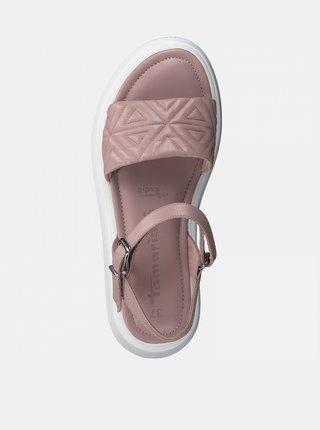 Starorůžové kožené vzorované sandály na platformě Tamaris