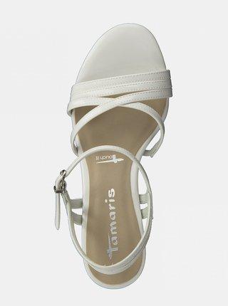 Biele sandále na vysokom podpätku Tamaris
