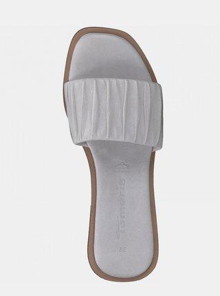 Světle šedé kožené pantofle Tamaris