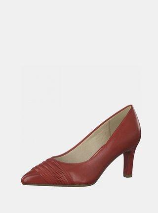 Červené kožené lodičky Tamaris