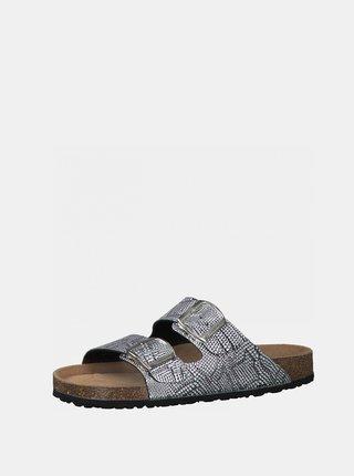 Vzorované pantofle ve stříbrné barvě Tamaris