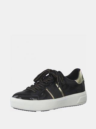 Čierne lesklé tenisky na platforme Tamaris